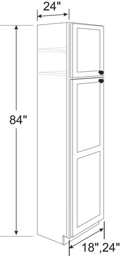Cardell Concepts 24 X 84 Lanston White Standard 2 Door Utility Cabinet