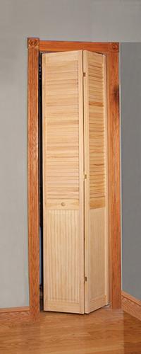 image pine unfinished full louvered 2leaf bifold door at menards