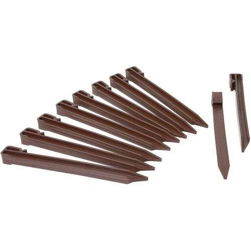 10 Heavy Duty 10-Pack Brown Landscape Lawn /& Garden Border Edging Stakes Easy Install Terrace /& Bender Board One Stop Outdoor