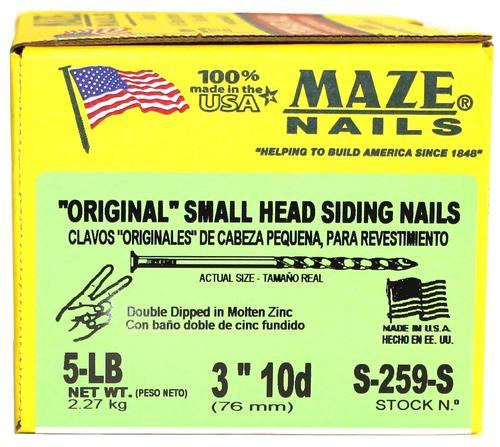 """Maze Nails  3/"""" 10D  Small Head Siding Nail #S259-S New in Box"""