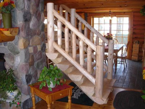 Bon Meadow Valley 6u0027 White Cedar Rustic Hewn Log Stair Railing At Menards®