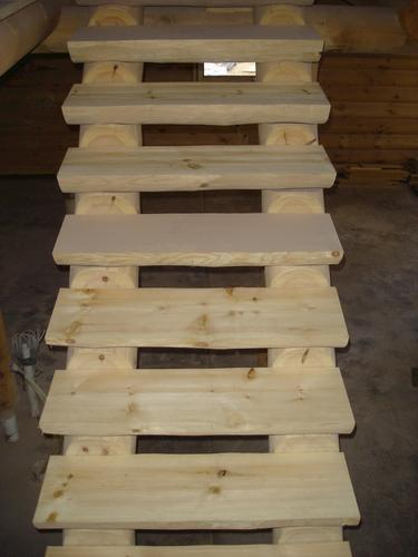 Meadow Valley White Pine Log Staircase (Cost Per Tread) At ...