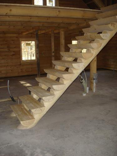 Bon Meadow Valley White Pine Log Staircase (Cost Per Tread) At ...