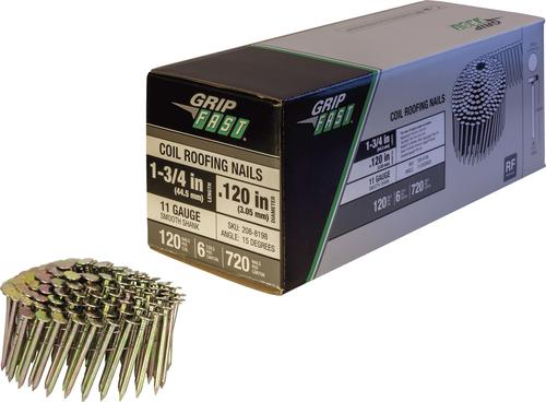 Grip Fast 1 3 4 X 12 Wire Electro Galvanized Smooth Shank Full Round Head Roofing Nails 720 Count At Menards