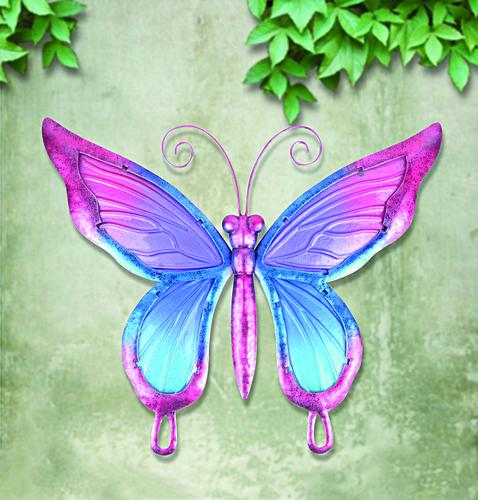 Enchanted Garden 15 X 17 Glass Metal Butterfly Outdoor Wall Art