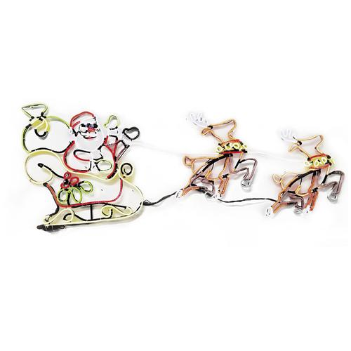 Enchanted Forest® Animated Neon Santa with Reindeer Lights