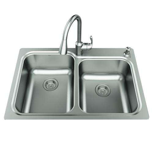 Moen Lodi All In One Dual Mount 33 Stainless Steel 2 Hole Double Bowl Kitchen Sink At Menards