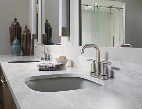 "7 Faucet Finishes For Fabulous Bathrooms: Moen® Gibson™ Two-Handle 4"" Centerset Bathroom Faucet"