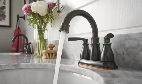 "Delta Porter 4 In Centerset 2 Handle Bathroom Faucet With: Moen® Hilliard™ Two-Handle 4"" Centerset Bathroom Faucet At"