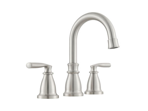 "Delta Alux Spotshield Brushed Nickel 2 Handle Widespread: Moen® Hilliard™ Two-Handle 8"" Widespread Bathroom Faucet"