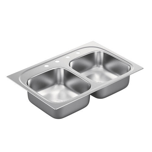 Moen 1800 Series Top Mount 33 Stainless Steel 4 Hole Double Bowl Kitchen