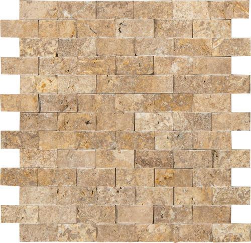 Ms International Noce Travertine Splitface 12 X 12 Stone Mosaic Tile