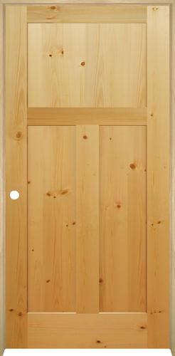 Mastercraft® Knotty Pine Flat Mission 3 Panel Prehung Interior Door At  Menards®
