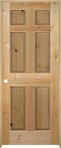 mastercraft knotty alder raised 6 panel prehung interior door at