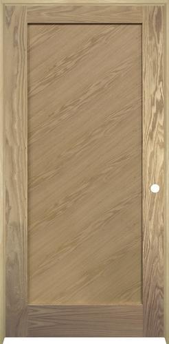 Mastercraft 174 Oak Flat 1 Panel Diagonal Grain Interior Door