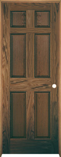 "Mastercraft® 30"" W x 80"" H Prefinished English Chestnut Oak 6-Panel Solid Core Interior Door System - Left Inswing"