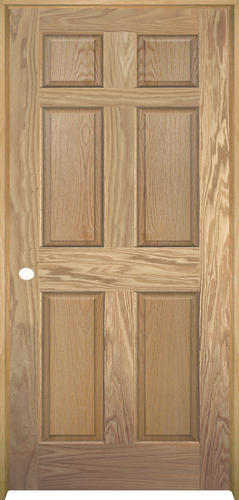 Mastercraft® Ready To Finish Oak 6 Panel Prehung Interior Door At Menards®