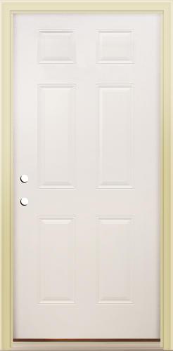 Mastercraft® E-1 Primed Steel 6-Panel Prehung Exterior Door at ...