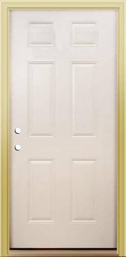 Premium 6 Panel Primed Steel Slab Entry Door X Front