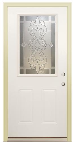 Mastercraft Prefinished White Half Lite Steel Prehung Exterior Door