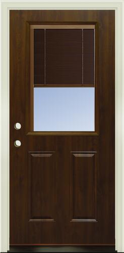 Mastercraft Internal Blinds 36 W X 80 H Dark Oak Woodgrain Half Lite Steel Exterior Door System At Menards