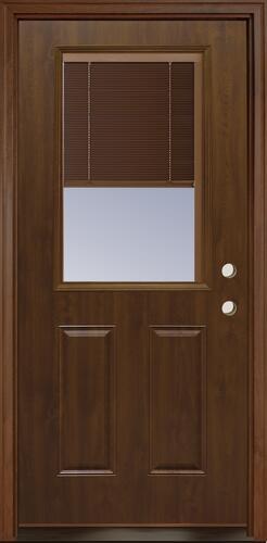 Mastercraft Internal Blinds 36 W X 80 H Dark Oak Woodgrain Steel Half Lite Composite Frame Exterior Door System At Menards
