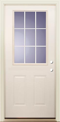 Mastercraft® Smooth White Fiberglass 9 Lite Internal Grilles Exterior Door  At Menards®