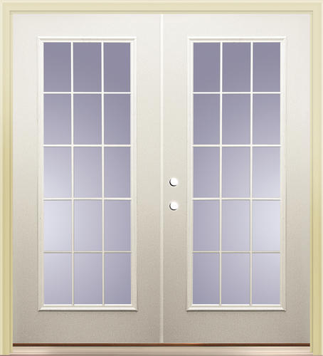 "French Exterior Doors Steel: Mastercraft® Primed Steel 72"" X 80"" 15-Lite French Patio"