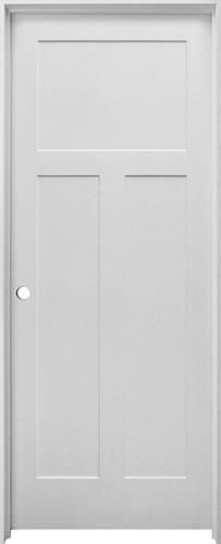 White Flat Mission 3 Panel Hollow Core Prehung Interior Door Right Inswing Model Number 4110442 Menards Sku