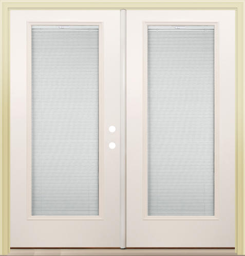 Mastercraft 72 W X 80 H Primed Steel Internal Blinds Inswing French Patio Door At Menards