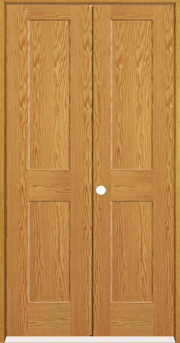 Mastercraft Oak Flat 2 Panel Prehung Interior Double Door At Menards