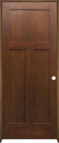 "Mastercraft® 30"" x 80"" Prefinished Gunstock Poplar 3-Panel Mission Flat Interior Door - Left Inswing"