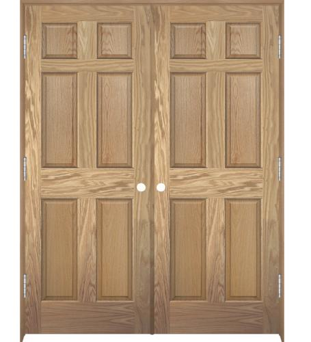 Mastercraft Oak 6 Panel Astragal Interior Double Door System At Menards