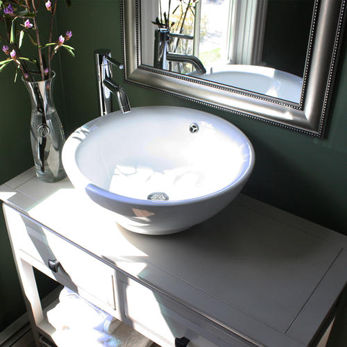 Nantucket Sinks Round White Vessel Sink With Overflow At ...