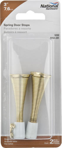 "3/"" inch Brass-plated Spring Door Stop 2-pack"