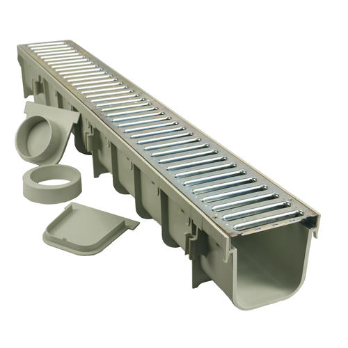 Nds 5 X 39 Gray Pro Series Channel Drain Kit With Metal Grate At Menards