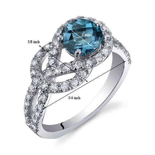 Oravo Round-Shaped London Blue Topaz Sterling Silver Ring