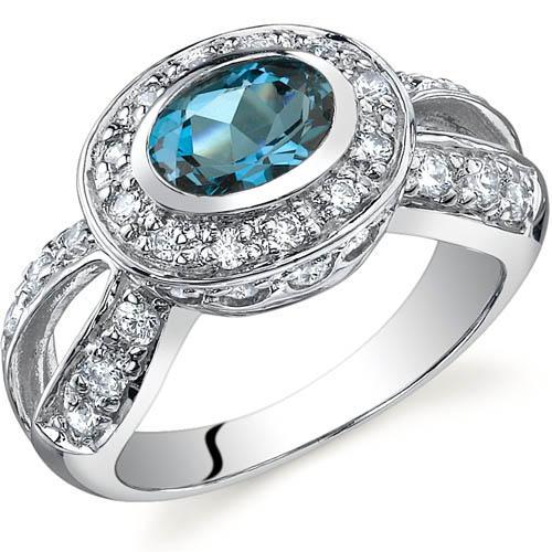 Oravo Majestic Brilliance Oval-Shaped London Blue Topaz Sterling Silver Ring