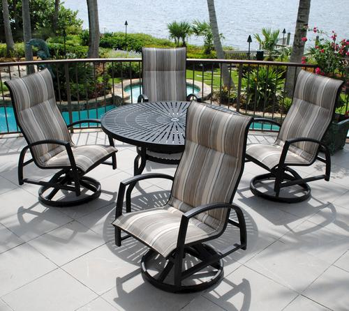 Backyard Creations Sanibel Collection 5 Piece Dining Patio Set In Tempo Stone