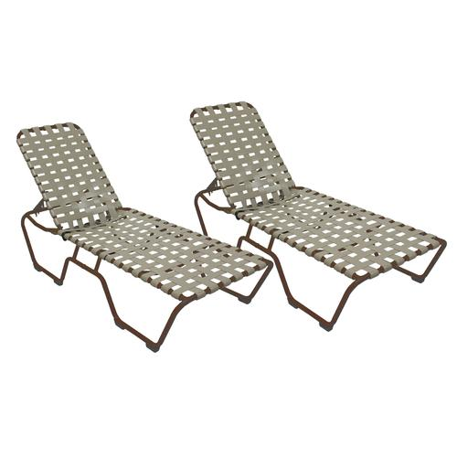 Commercial Grade Chaise Lounge With Vinyl Cross Straps 2
