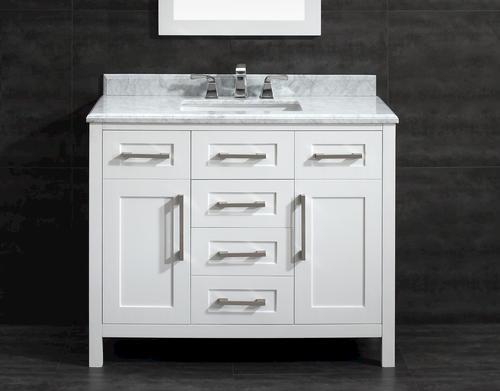 "ove décor 42""w x 21""d white malibu vanity and carrara marble"