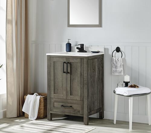 Ove Decors 24 W X 19 D Smokey Gray Grove Vanity Cabinet With White