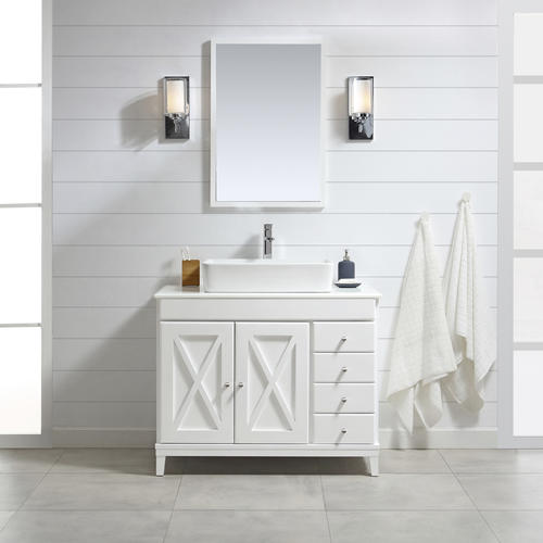 Ove Decors Aspen 40 W X 22 D White Vanity And White Marble Vanity Top With Rectangular Vessel Bowl At Menards