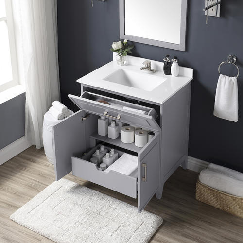 Ove Decors 30 W X 22 D Pebble Gray Denver Vanity And White