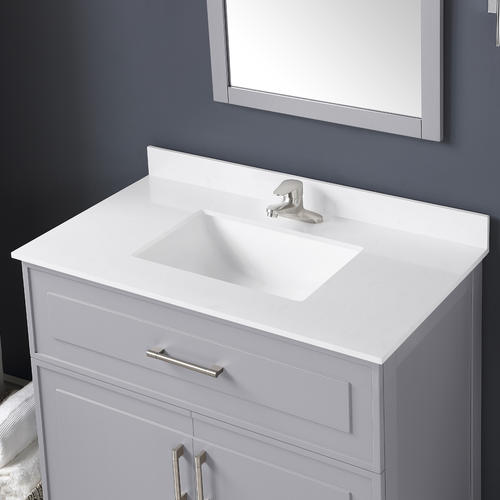 Ove Decors Denver 36 W X 22 D Pebble Gray Vanity And White Cultured Stone Vanity Top With Rectangular Undermount Bowl At Menards