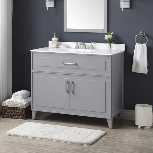 Ove Decors 42 W X 22 D Pebble Gray Denver Vanity And White