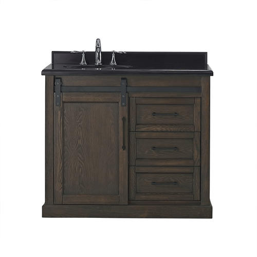 Ove Decors Santa Fe 40 W X 22 D Rustic Walnut Vanity And Black Granite Vanity Top With Left Offset Oval Undermount Bowl At Menards