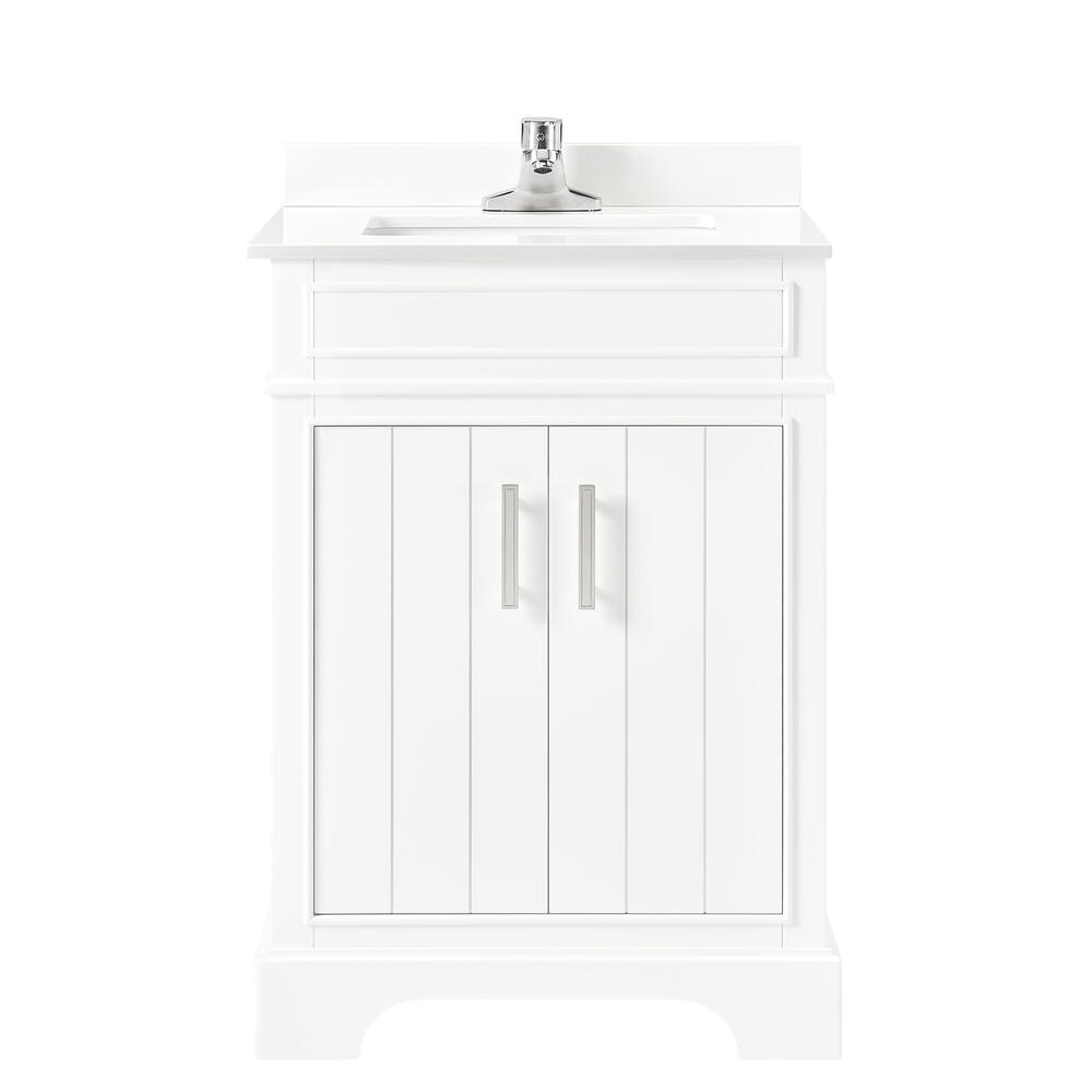 Ove Decors Madison 24 W X 19 D White Vanity And White Cultured Stone Vanity Top With Rectangular Undermount Bowl At Menards