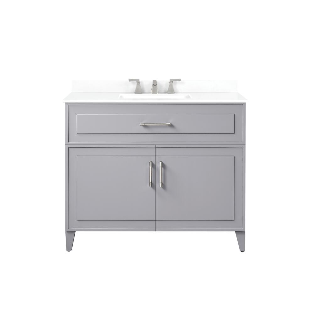 Ove Decors Denver 42 W X 22 D Pebble Gray Vanity And White Cultured Stone Vanity Top With Rectangular Undermount Bowl At Menards