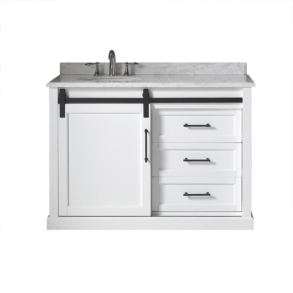 Ove Decors Santa Fe 48 W X 22 D White Vanity And Carrera Marble Vanity Top With Left Offset Oval Undermount Bowl At Menards